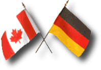 Flags of Canada and Germany crossed